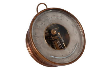 vintage barometer isolated on white background