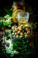 Fresh,organic gooseberry in metalic  bowl