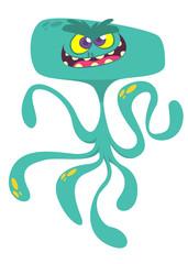 Cute cartoon monster alien or octopus. Vector illustration of blue monster