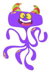Cute cartoon monster alien or octopus. Vector illustration of purple flying monster for Halloween