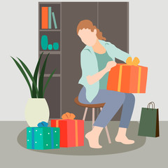Set of shopping woman vector concepts. Flat design. women with gift boxes, paper bags and trolley with goods. Pleasure of purchase. For sales and discounts