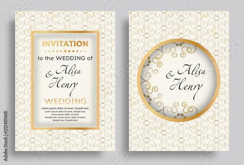 Wedding Invitation Template Set Elegant Background With Golden
