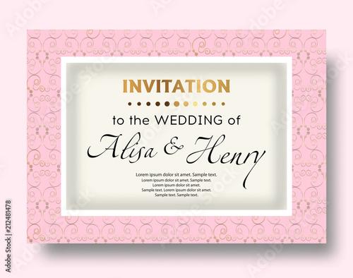 Wedding Invitation Pink Template Elegant Background With