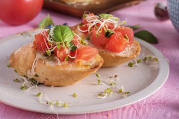 Traditional italian bruschetta on bright background