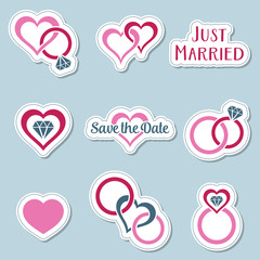 Vintage wedding symbols labels