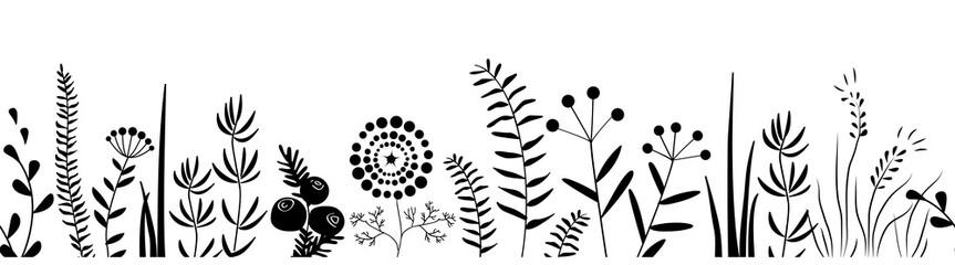 Wall Mural - Black grass silhouette seamless pattern