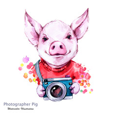 Summer holidays illustration. Watercolor cartoon pig with camera. Funny photographer. Traveling. Symbol of 2019 year. Perfect for T-shirts, invitations, cards, phone cases.