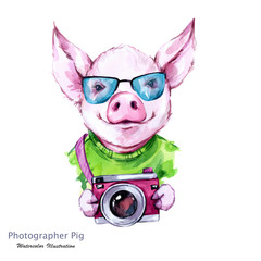 Summer holidays illustration. Watercolor cartoon pig with glasses and camera. Funny photographer. Traveling. Symbol of 2019 year. Perfect for T-shirts, invitations, cards, phone cases.