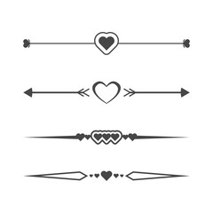 Collection of vector dividers with hearts