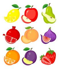 Set of different fruits. Lemon, apple, pear, pomegranate, peach,