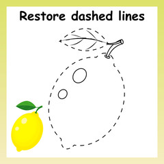 Trace game for children. Cartoon yellow lemon. Restore dashed li