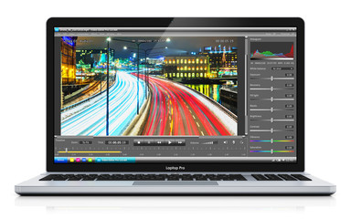 Laptop or notebook with video editing software