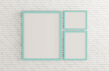 Blank mint color picture frame template for place image or text inside on white brick wall.