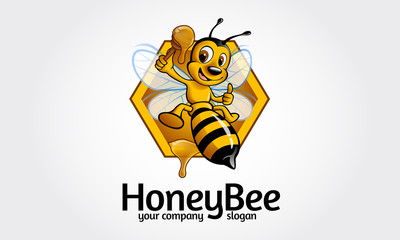 Vector happy cartoon bee flying with a delicious honey. Vector logo illustration.