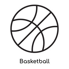 Basketball icon vector sign and symbol isolated on white background, Basketball logo concept