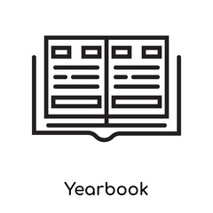 Yearbook icon vector sign and symbol isolated on white background, Yearbook logo concept