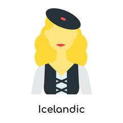 Icelandic icon vector sign and symbol isolated on white background, Icelandic logo concept