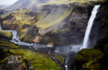 Haifoss Waterfall In The Centre