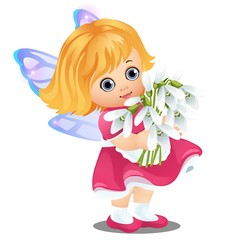 A little happy animated girl with fairy wings holding a bouquet of blooming snowdrops isolated on white background. Vector cartoon close-up illustration.