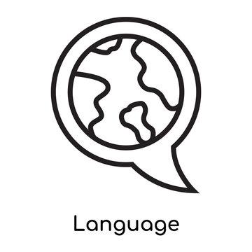 Language icon vector sign and symbol isolated on white background, Language logo concept