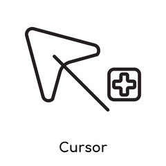 Cursor icon vector sign and symbol isolated on white background, Cursor logo concept
