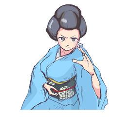 格闘技風のポーズの着物の女性