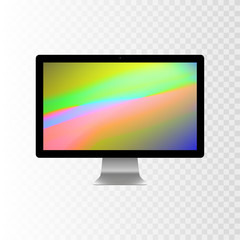 Stock vector illustration realistic personal desktop computer, PC. Modern flat screen monitor. Computer display isolated on a transparent checkered background. Wallpapers on the screen EPS10