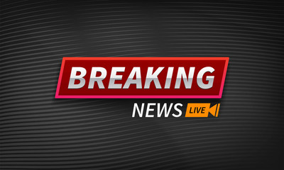 Stock vector illustration logo breaking news live banner. Black wavy lines background EPS10