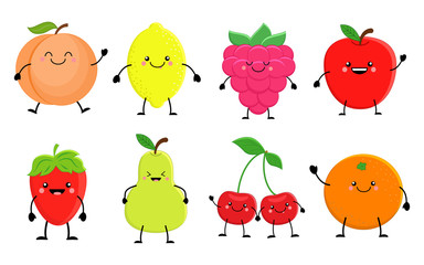 Set of cute cartoon fruit. Lemon, orange, apple pear,raspberry,