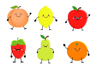 SEt of cute cartoon fruit. Lemon, orange, apple pear, strawberry