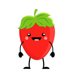Cute cartoon strawberry. Kawaii  strawberry. Vector illustration