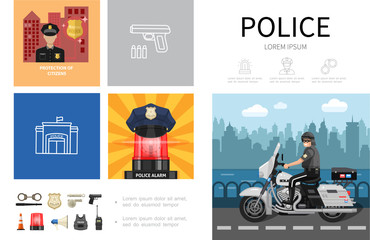 Flat Police Infographic Concept