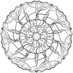 Abstract black and white illustration round beautiful tracery frame. Delicate geometric mono line background.