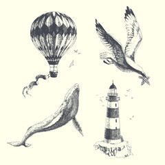Summer dreams. Vector set of vintage illustrations in engraving style. Hand drawn aerostat, lighthouse, whale and seagull. Objects on sea travel theme isolated on white