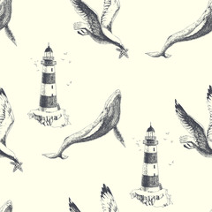 Sea travel vintage illustration. Vector seamless marine pattern in engraving style. Hand drawn texture with lighthouse, whale and seagull isolated on white