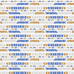 Hand Drawn Ethnic Patterns Stripes , Seamless Vector Background , Greek Blue Gold on Light Texture for Summer Fashion Prints, Boho Wallpaper, Trendy Stationery, Textiles & Cultural Poster Backdrop