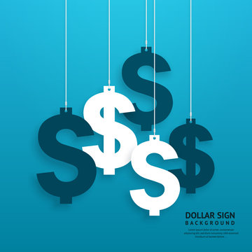 Dollar signs hanging on the ropes on blue background. Vector.