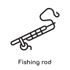 Fishing rod icon vector sign and symbol isolated on white background, Fishing rod logo concept