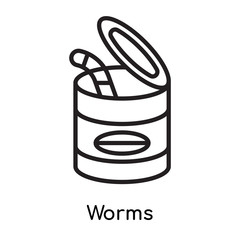 Worms icon vector sign and symbol isolated on white background, Worms logo concept