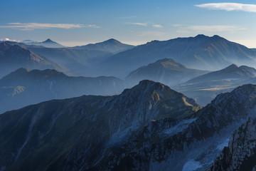 雄山からみる北アルプスの山々