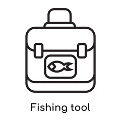 Fishing tool icon vector sign and symbol isolated on white background, Fishing tool logo concept