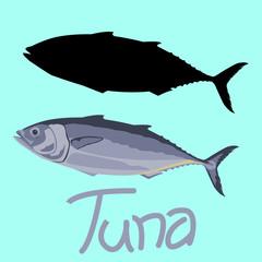 tuna fish vector illustration flat style black silhouette