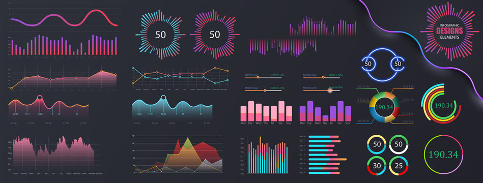 Infographic dashboard template with flat design graphs and pie charts. Information Graphics elements for UI UX design. Web elements in moden style.