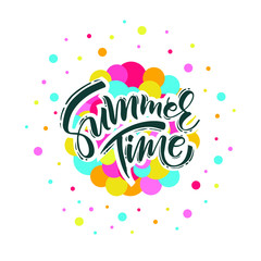 Summer time handwritten text. Vector lettering illustration EPS 10.