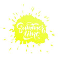 Summer time handwritten text. Vector lettering illustration EPS 10.
