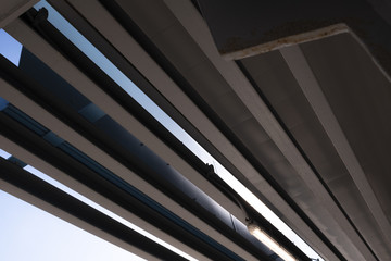 Lines Below A Highway Overpass Abstract Photo