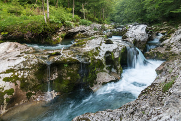 Mostnica river flowing over limestone karst formation, Triglav National Park, Slovenia