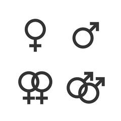 Gender icon. Female, male, gay, lesbian symbol. Vector illustration, flat design.