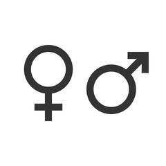 Gender icon. Female, male symbol. Vector illustration, flat design.
