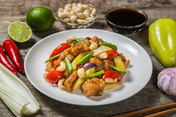Chicken with cashew nuts. The national dish of Thai cuisine.